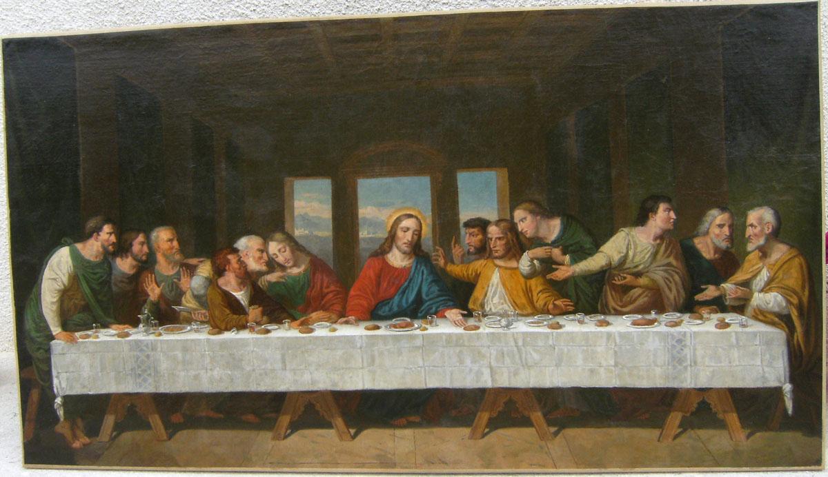 grand tableau religieux - copie de la Cène - après