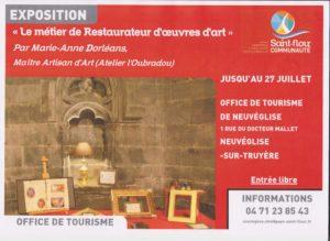 Découverte des métiers de restaurateurs de tableaux et de doreur sur bois, jusqu'au 27 juillet 2019 à Neuvéglise sur Truyère, ouvert aux heures d'ouverture de l'office de tourisme